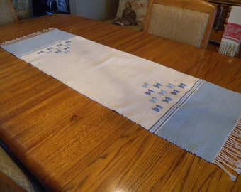 Swedish vintage woven runner traditional pattern blue and white colors//Home and Living// Kitchen and Dining// Table Runners