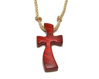 Simple Cross Necklace, Wooden Cross Jewelry, Cross Necklace, Redheart Wood Necklace, Gifts under 20