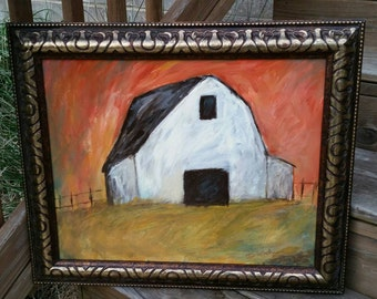"""16 x 20 Original Abstract Painting """"Down on the Farm"""""""