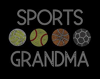 Sports Grandma Bling T-Shirt - Customize up to 4 Sports Balls