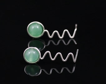 Sterling silver jade zigzag drop earrings handmade Bridesmaids gifts Free US Shipping handmade anni designs