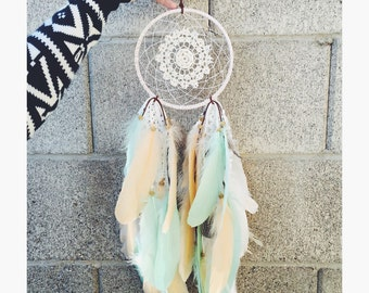 "6"" Mint and Peach Feather Dreamcatcher"