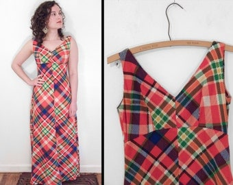 ORANGE Plaid Dress 1960s Sleeveless Maxi Length V Neck Size XS Small