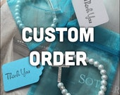 CUSTOM ORDER 40 set of white bracelets with turquoise and white thank you, and turquoise bags