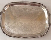 Large Silverplate Serving Bar Tray