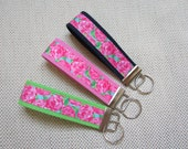 """Lilly Pulitzer inspired """"First Impression"""" Grosgrain ribbon key fob - Key chain wristlet - 4"""" and 5.25"""" - 1.25"""" cotton webbing"""