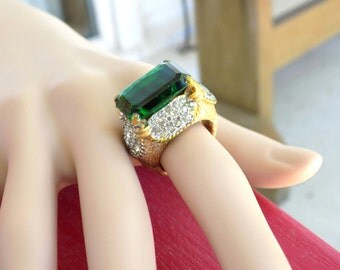 Vintage Signed Panetta Cocktail Ring Size 6 Huge Emerald Green Stone Sterling Shank Gold Vermeil