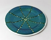Green Holiday Fused Glass Platter