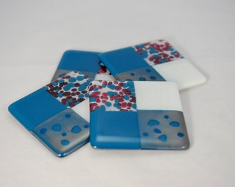 Whimsical Cranberry and Steel Blue with Metallic Fused Glass Coasters (Quantity 4)
