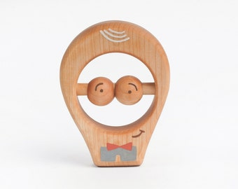 Wooden Toy, Rattle, Wooden Baby Toy, Teething Toy, a Blue Pants Boy
