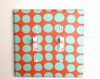 Amy Butler DOUBLE Toggle Light Switch Plate Cover / Nursery Decor / Aqua and Coral Orange / Kitchen / Bathroom / Sunspots / Kids Girls Room