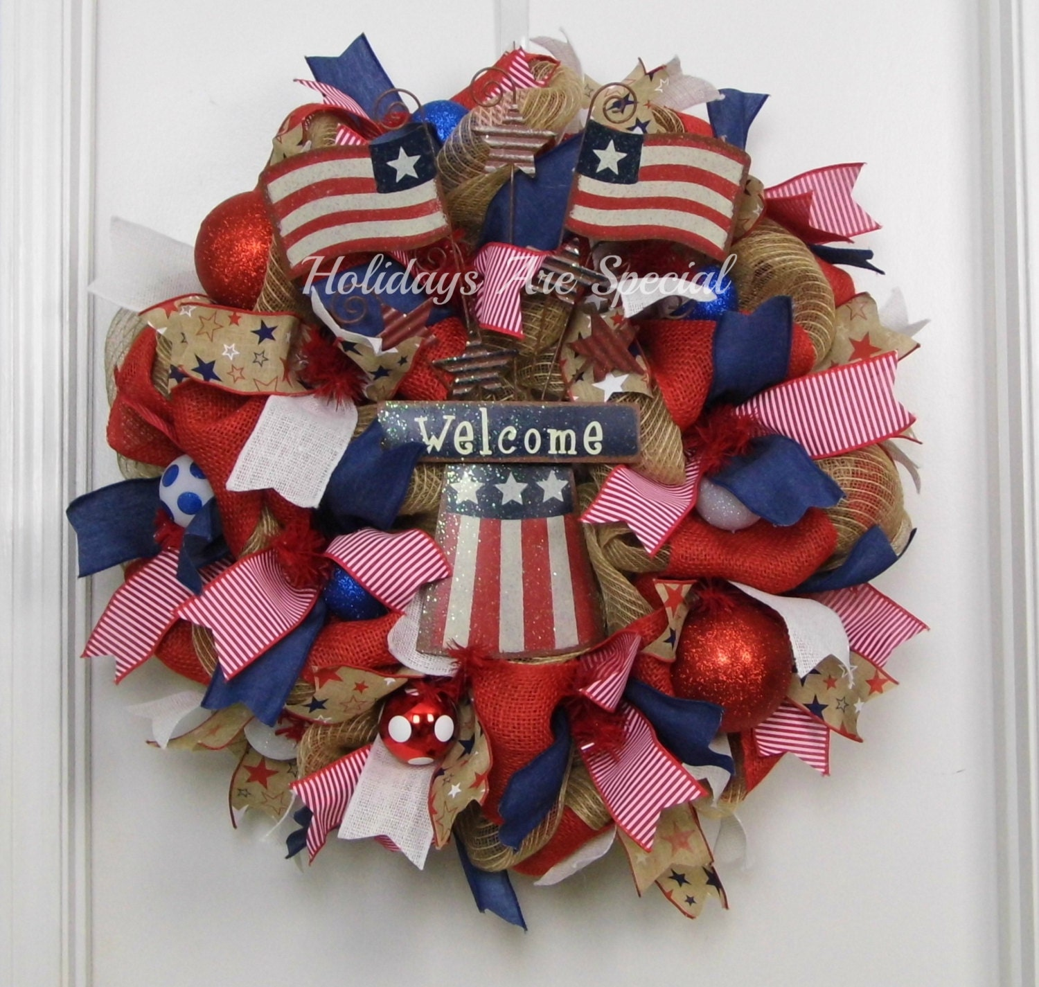 Mesh Wreath Patriotic Patriotic Wreath Welcome Wreath Red
