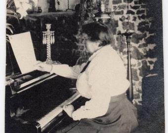 Victorian Woman Plays Piano Antique Photograph Music Memorabilia Paper Ephemera Vintage Photo Black And White Snsapshot