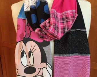 UPCYCLED t-shirt scarf ... Minnie Mouse ... Disney ... pink, blue, gray, black and white