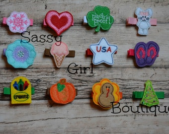 Seasonal Hair Clip of the Month, A Year of Hair Clips, 12 Months of Clips, Holiday Hair Clips,Embroidered Clippies,Feltie Collection