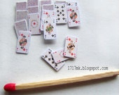 Solitaire of miniature cards, 1:12, one inch scale