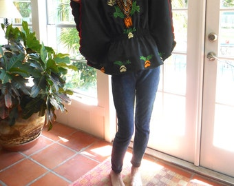 Vintage embroidered bat wing top black ethnic hippie boho bohemian silky polyester: small, medium