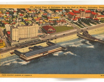 Linen Postcard, Galveston, Texas, Aerial View from Gulf of Mexico, 1948