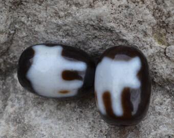 Price cut -- pair dog dzi beads  DZB1472