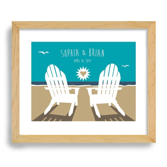 Beach Wedding Gift Unique Engagement Gift Art Print Personalized