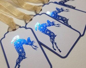 Holiday gift tags reindeer tag christmas tag foiled