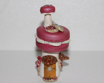 SALE Deliciously Whimsical Pink Macaron FAIRY Bakery House