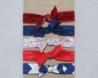 American Baseball Elastic Hair Tie Set of 5