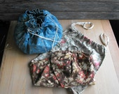 Vintage Sewing bags drawstring sewing bag vintage sewing kit embroidery bag three piece instant collection