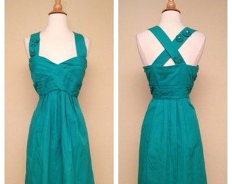ON SALE Adorable Vintage Dress in Teal with Floral Appliques 1950s 1960s Style Teal Knee Length Dress Size Medium