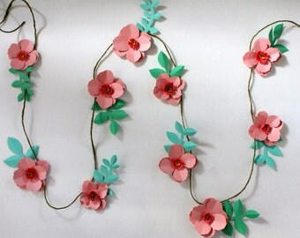 Wedding Garland, Paper Flower Garland, Party Decor, Home Decor, Cherry Blossoms