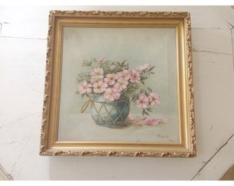 SALE...Beautifully aged and tattered antique rose oil painting signed and dated 1900