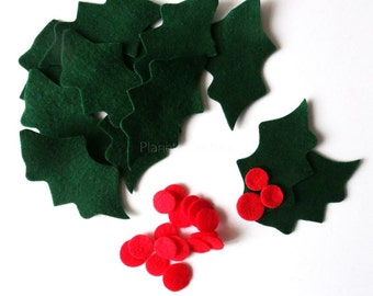 Felt holly leaves,  felt shapes, felt die cut, christmas crafts, green leaves, Felt Christmas leaves, Small Holly Leaves