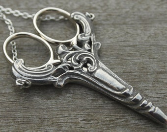 Scroll Chatelaine with an Antique Silver Finish & Etui Scissors - lacemaking and embroidery