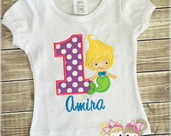 Mermaid birthday shirt - 1st birthday mermaid shirt - custom embroidered birthday shirt for girls - purple mermaid shirt - personalized