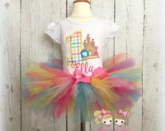 Sandcastle Birthday Tutu Outfit- 1st Birthday- Summer Birthday Outfit- Custom embroidery
