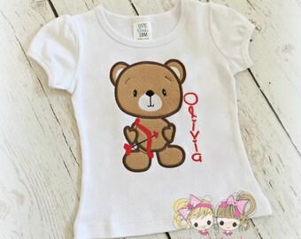 Valentine's Day Teddy Bear Shirt- Cupid Bear- Custom embroidery