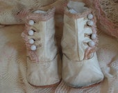 Victorian High-Top Baby Shoes -- Leather with Pink Silk Fringe --  Rare Girls High Top