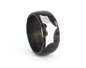 Men's carbon fiber Batman ring. The Dark Knight Rises black glossy wedding band. Water resistant and hypoallergenic. (01902_7N)