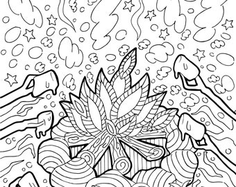 printable coloring page zentangle camping coloring book - Camping Coloring Pages