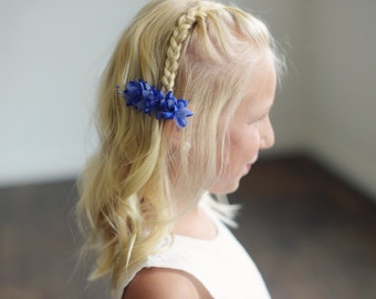 The Wood Anemone: Flower Girl Hair clip in royal blue