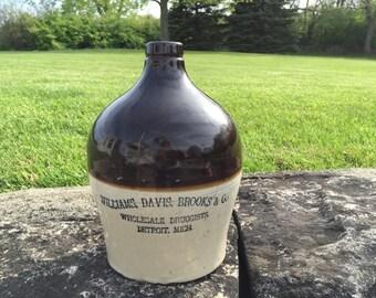 Antique Advertising Crock Jug Williams, Davis, Brooks & Co. Stoneware Primitive Rustic Country Drug Store Druggist Pharmacy Whiskey Bottle