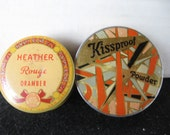 Two vintage beauty tins..Kissproof face powder...Heather Rouge