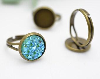 Wholesale Ring Blanks -50pcs 12mm Antique Bronze Brass Adjustable Cabochon Ring Base Setting LB403-2