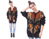 Vintage Mohair CARDIGAN . 80s Bohemian Fuzzy Abstract Print Sweater Button Up Wool Blend 1980s Knit Jacket Crewneck . Large to XL