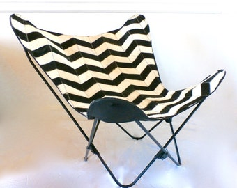 BKF Butterfly Chair - Black + White Chevron Cowhide Patchwork