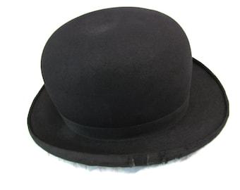 Vintage Mens Bowler Hat Dobbs Black Bowler Wool Hat 1920s 1930s Derby Hats Bowler Hat 7 1/4 Bower Hat Vintage