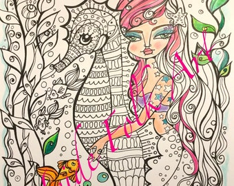 Mermaid Coloring Book Pages for adults. Packet 1. Printed on card stock.