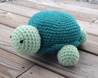Crochet light green and dark turquoise stuffed amigurumi turtle