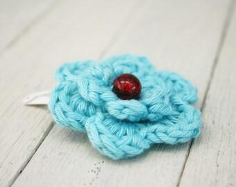 Crochet Flower Hair Clip in Turquoise