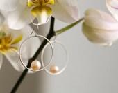 Peach Pearl Earrings - Small Hoop Earrings - Peach Pearl Dangle Earrings - Pearl Hoop Earrings in Sterling Silver - Free Shipping